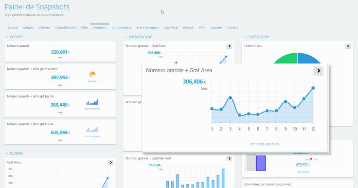 Screenshot do Painel de Snapshots do Software de Gestão ERP PHC