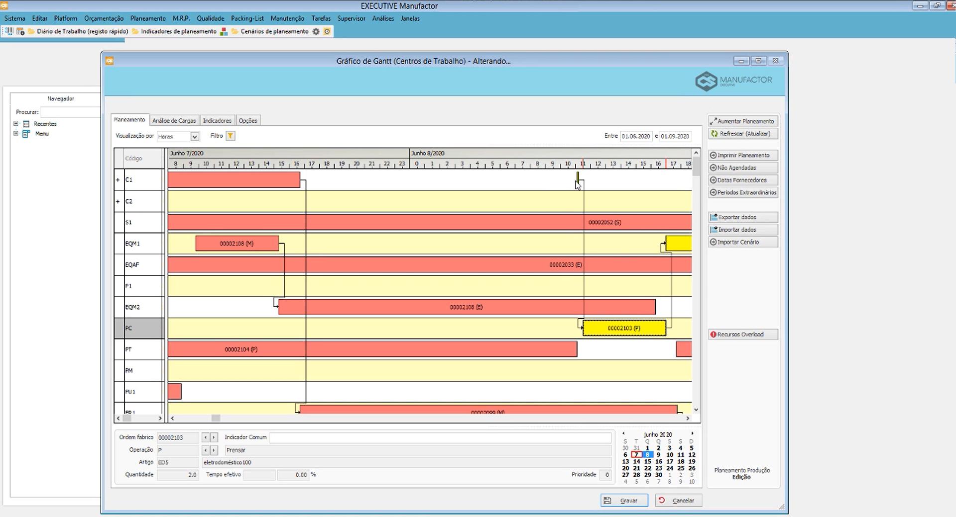 Screenshot do ERP Sofware de Gestão PHC CS para Indústria e Produção