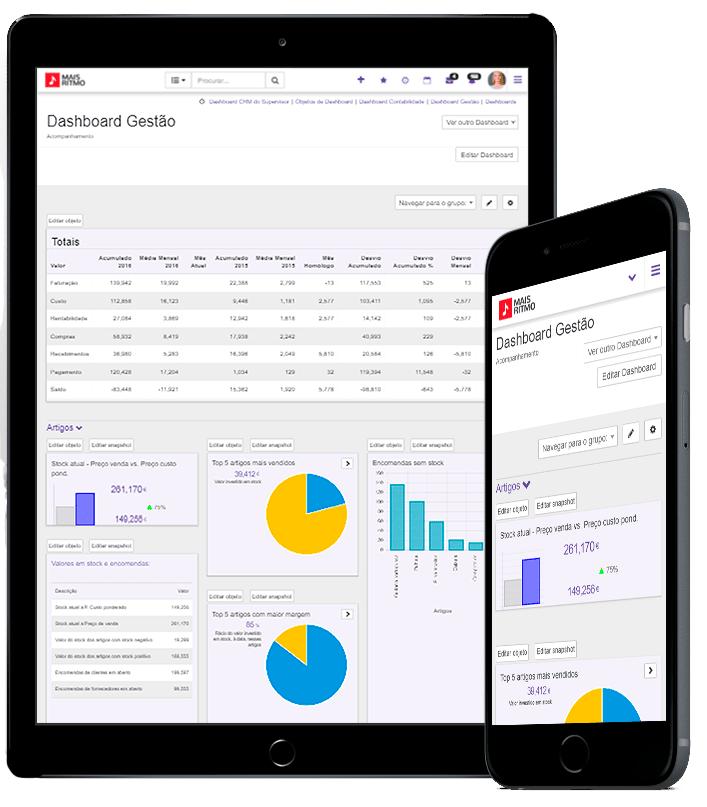 software de gestão erp PHC CS em tablet e mobile